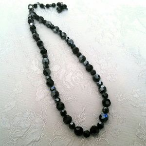 Iridescent Black Faceted Glass Bead Nwcklace